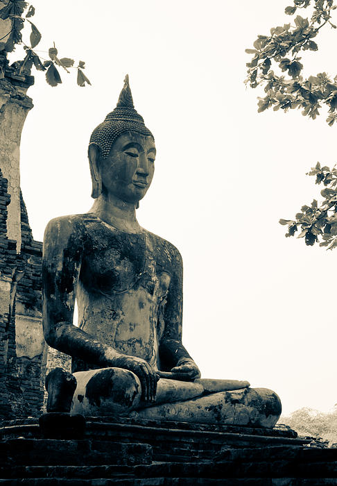 Buddha Statue Sculpture - The Ancient City Of Ayutthaya by Thosaporn Wintachai