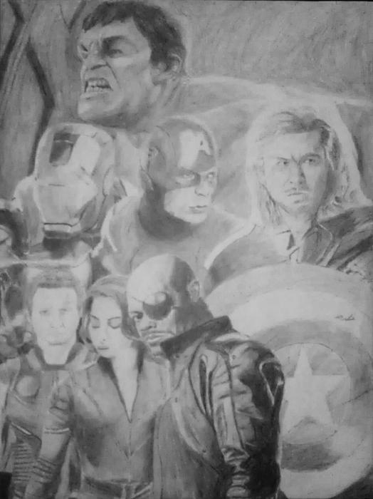 The Avengers Drawing - The Avengers by Milton  Gore