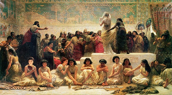 Iraq Painting - The Babylonian Marriage Market, 1875 by Edwin Longsden Long