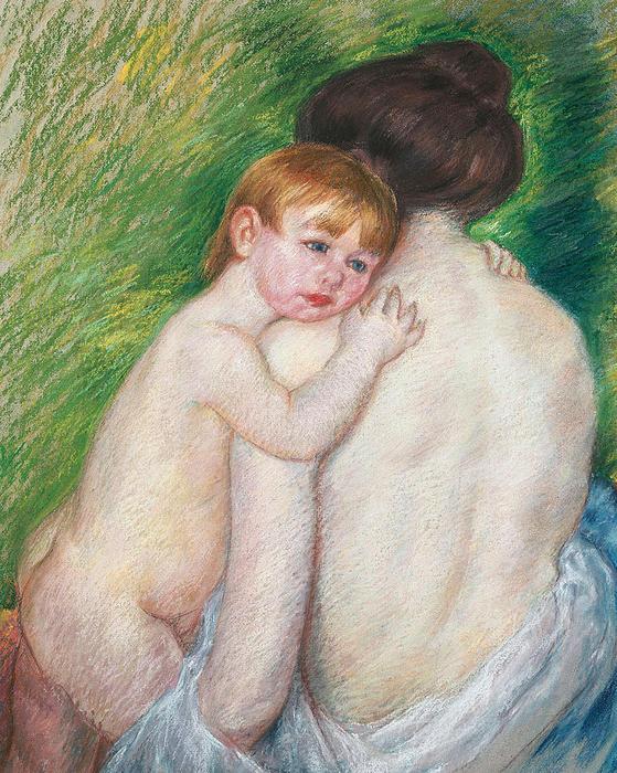 Child Painting - The Bare Back by Mary Cassatt Stevenson