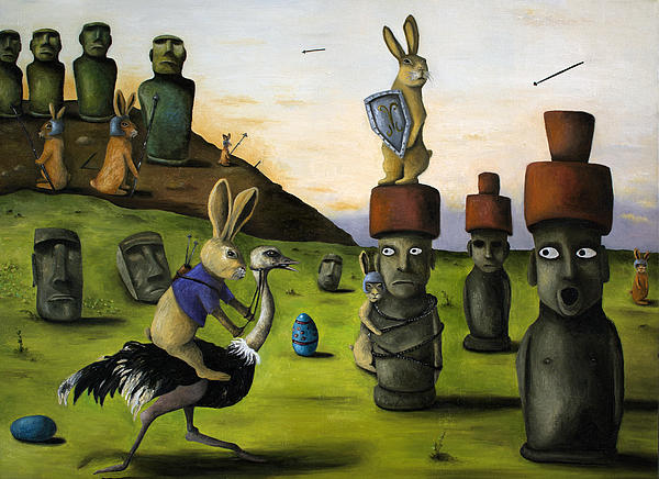 Bunny Painting - The Battle Over Easter Island by Leah Saulnier The Painting Maniac