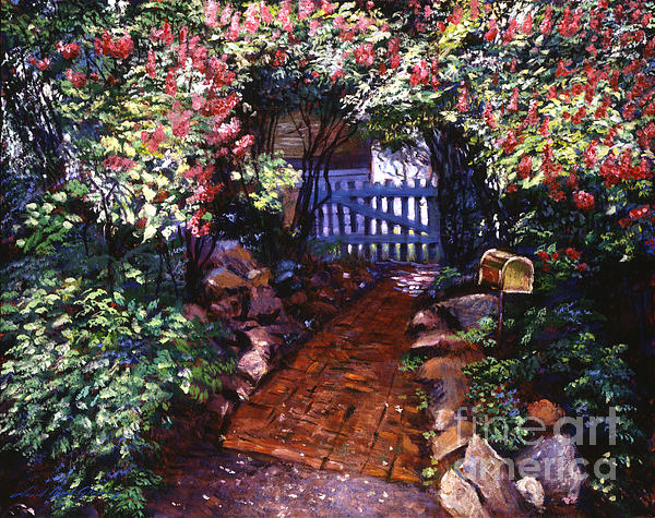 Gardens Painting - The Blue Garden Gate by David Lloyd Glover
