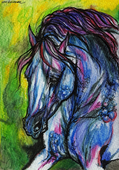 Horse Painting - The Blue Horse On Green Background by Angel  Tarantella