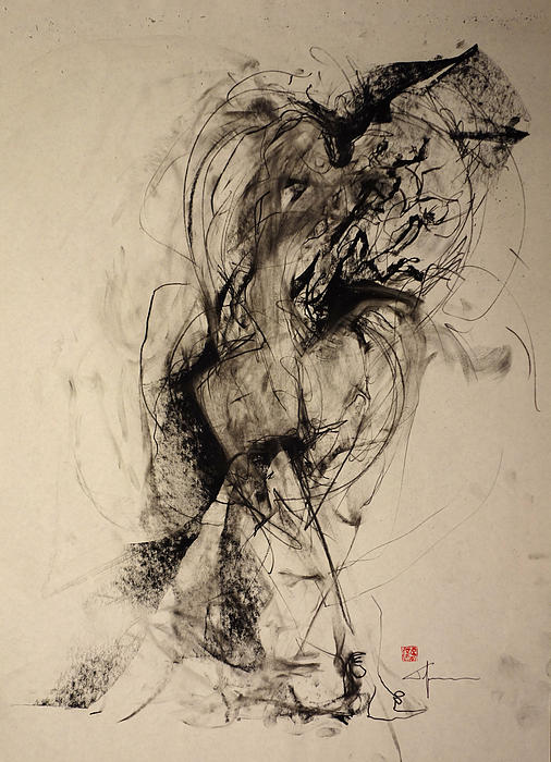 Sensuality Drawing - The Blur Between Large And Her Warmth by John Arthur Ligda
