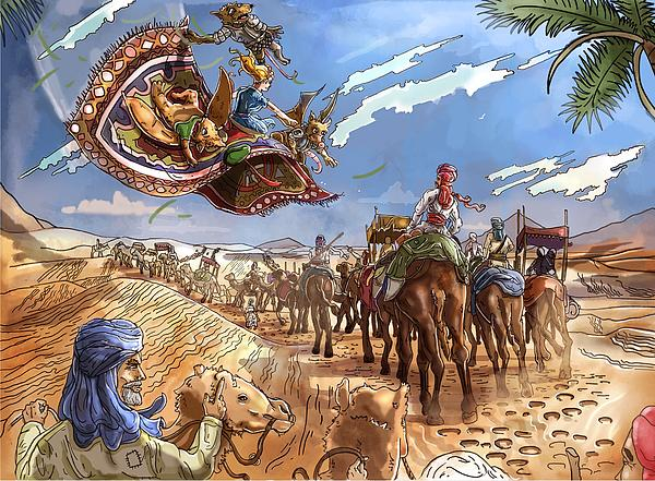 Fantasy Painting - The Caravan In The Sahara by Reynold Jay