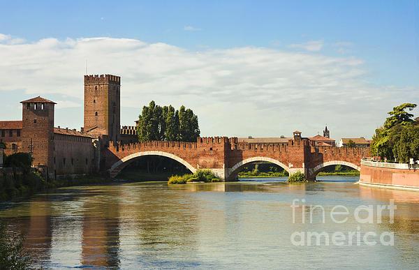 Red Photograph - The Castelvecchio Bridge In Verona by Kiril Stanchev