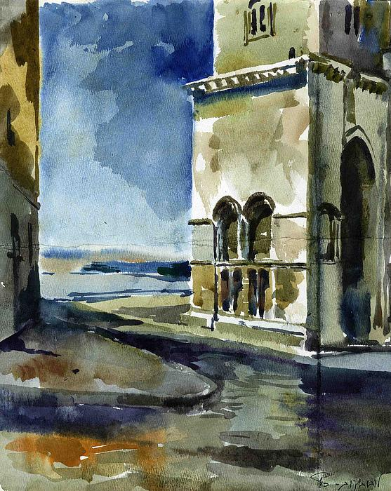 Cathedral Painting - The Cathedral Of Trani In Italy by Anna Lobovikov-Katz