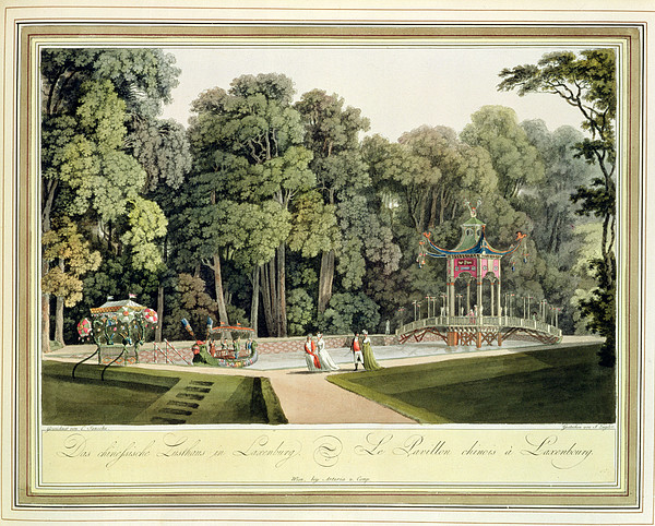 Austrian Garden Drawing - The Chinese Pavilion In The Laxenburg by Laurenz Janscha