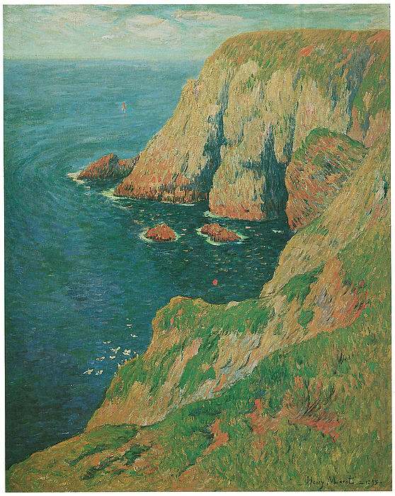 Moret Painting - The Cliffs Of Stang Ile De Croix by Henry Moret