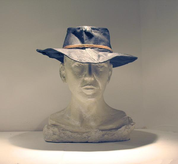 Portrait Sculpture Sculpture - The Cowboy by Flow Fitzgerald