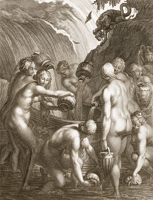 Classical Drawing - The Danaids Condemned To Fill Bored by Bernard Picart
