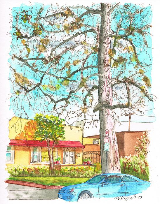 Nature Painting - The Dry Tree In The Yellow House - Hollywood - California by Carlos G Groppa