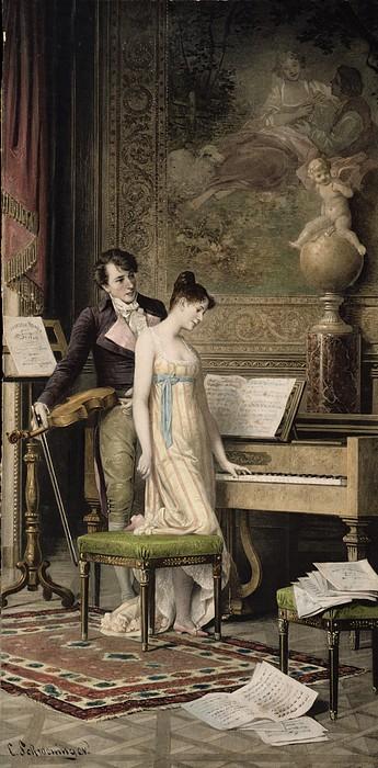 Music Room Painting - The Duet by Karl the Elder Schweninger