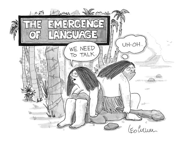 The Emergence Of Language Cave Woman: we Need Drawing by Leo Cullum