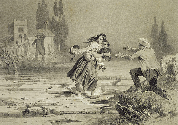 Crossing Drawing - The Flight Of Eliza, Plate 3 From Uncle by Adolphe Jean-Baptiste Bayot