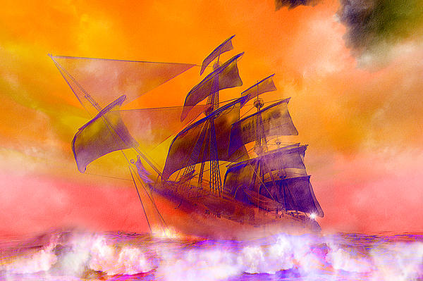 Doomed Digital Art - The Flying Dutchman Ghost Ship by Carol and Mike Werner