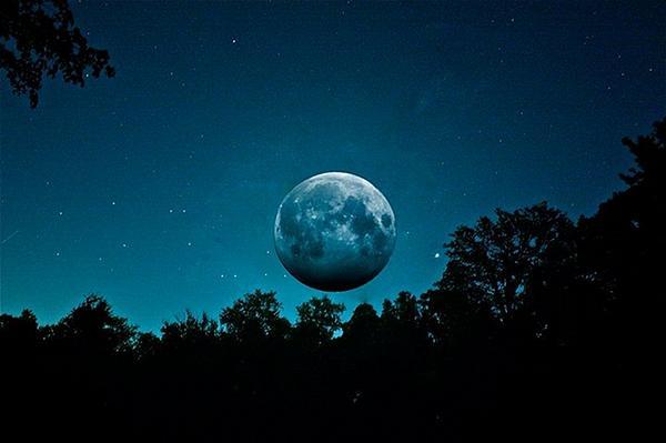 Blue Photograph - The Full Harvest Moon by Brandon Lacrosse