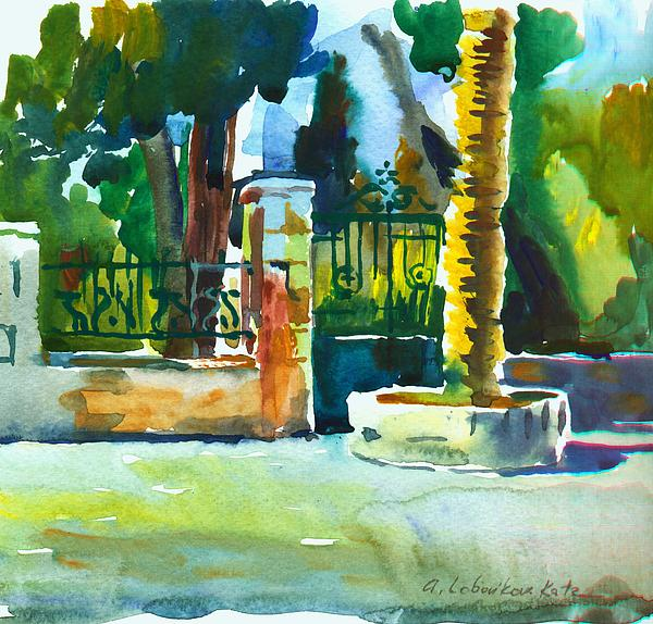 Watercolor Painting - The Gate At Stella Maris by Anna Lobovikov-Katz