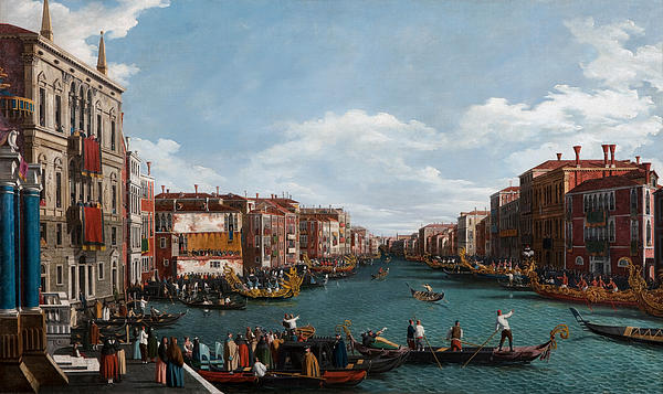 Venice; Grand Canal; Town; City; Urban; Vedute; Traffic; Busy; View; Gondola; Gondolas; Gondoliers; Gran; Gondolier; Italy; Italian; Venetian; House; Houses; Facade; Facades; Colourful; Banner; Banners Painting - The Grand Canal At Venice by Antonio Canaletto