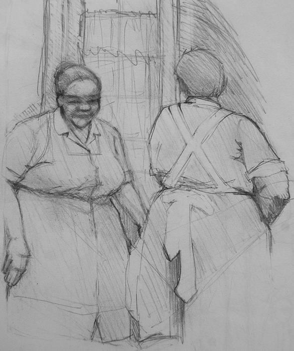 Housekeepers Photograph - The Help - Housekeepers Of Soniat House Sketch by Jani Freimann