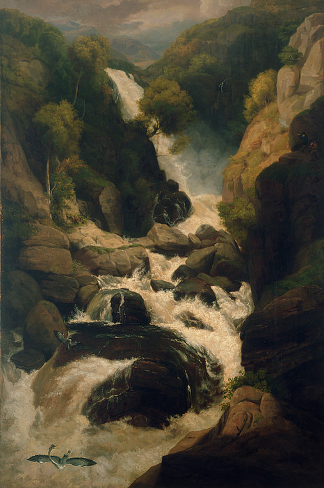 Waterfall Painting - The Heron Shoot, C.1800 by English School