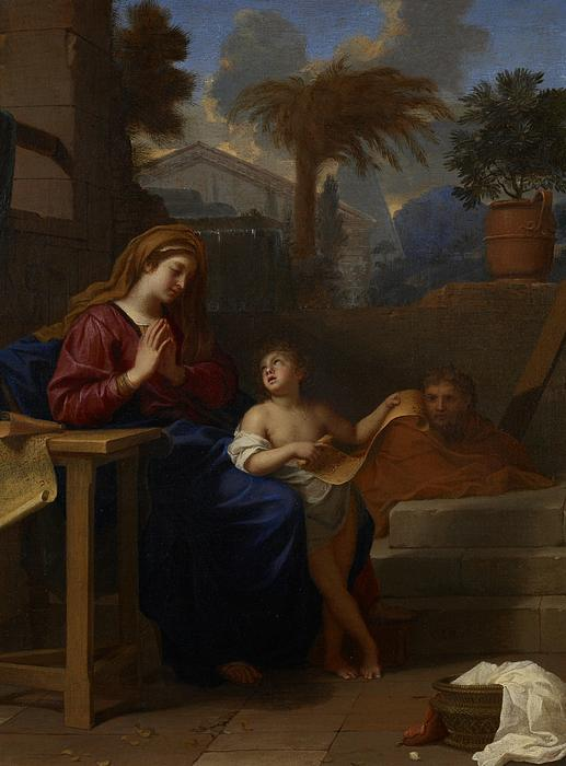 Baby Painting - The Holy Family In Egypt by Charles Le Brun