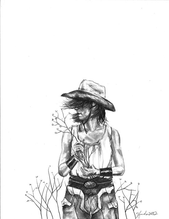 Cowgirl Drawing - The Iron Cowgirl by J Ferwerda