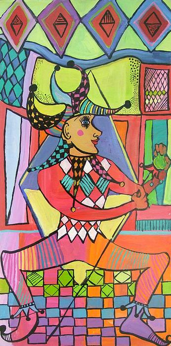 Jann Mixed Media - The Jester by Janet Ashworth