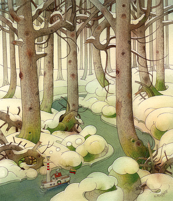 Boat River Wood Forest Winer Tree Snow Holiday Christmas Painting - The Little Boat 01 by Kestutis Kasparavicius