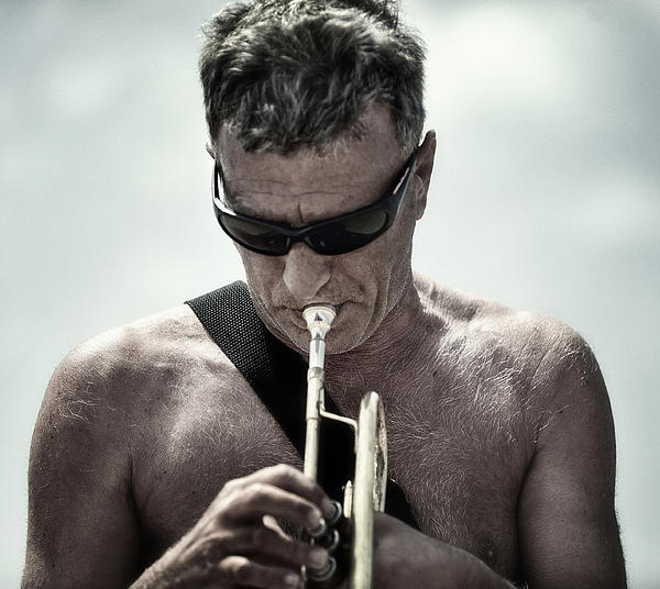 Marocco Photograph - The Man His Trumpet And The Sea by Michel Verhoef