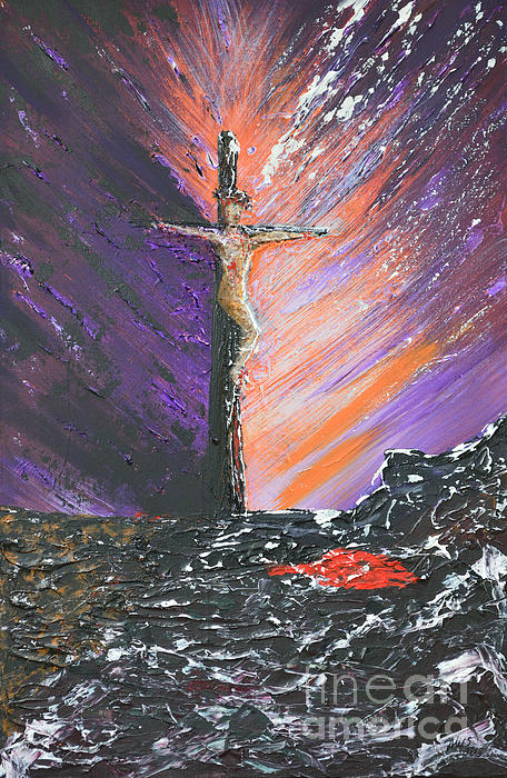 Jesus Painting - The Man On The Cross by Alys Caviness-Gober