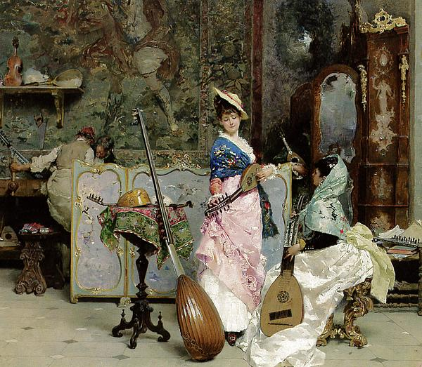 Music Painting - The Mandolin Shop by Vincenzo Capobianchi