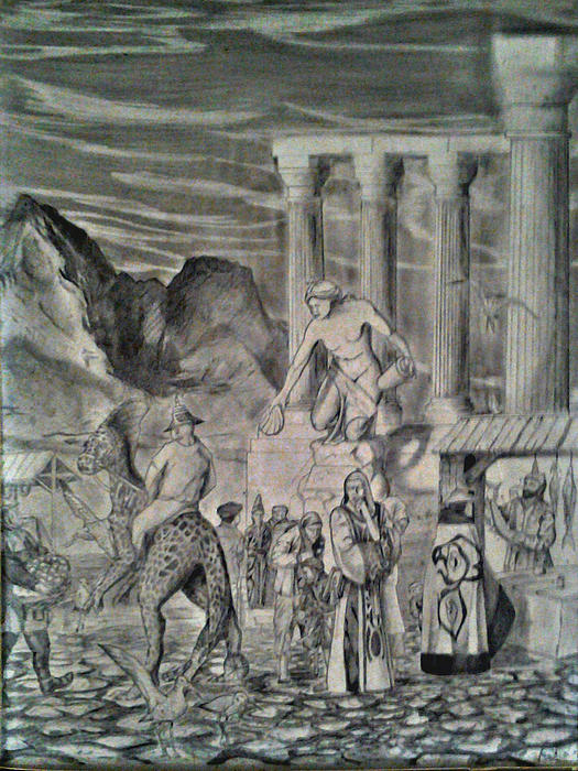 Fantasy Drawing - The Market Place by George Harrison
