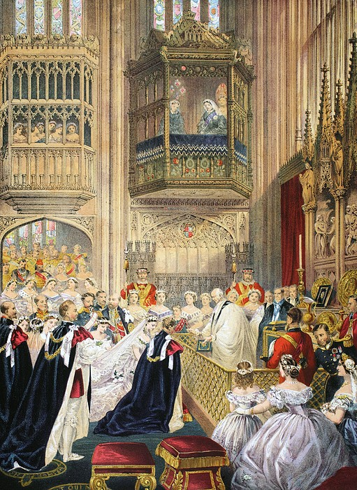 St George's Chapel Drawing - The Marriage At St Georges Chapel by English School