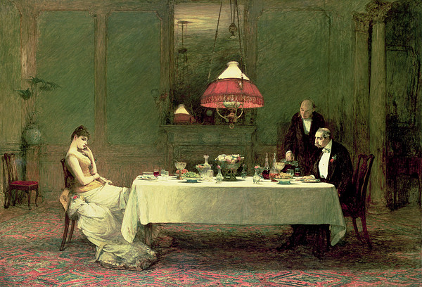 Dinner Painting - The Marriage Of Convenience, 1883 by Sir William Quiller Orchardson