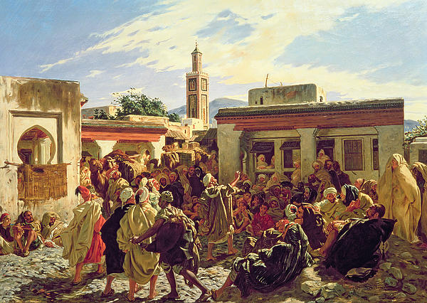Busy Painting - The Moroccan Storyteller by Alfred Dehodencq