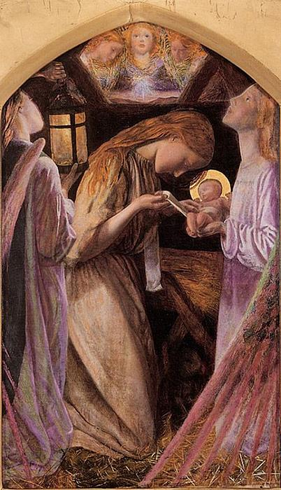 Nativity Painting - The Nativity With Angel by Arthur Hughes