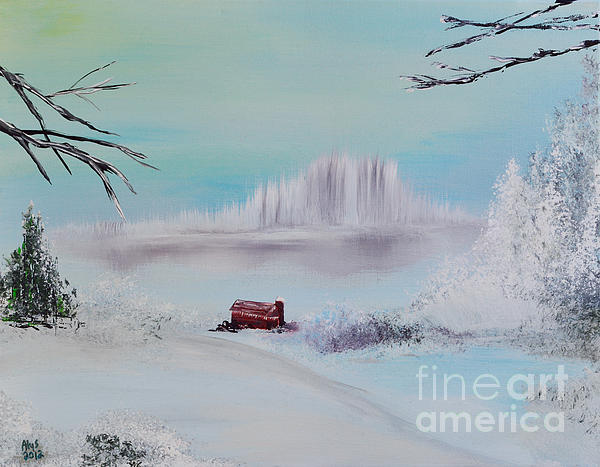 Red Barn Painting - The Old Red Barn In Winter by Alys Caviness-Gober