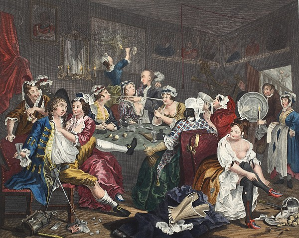 Whorehouse Drawing - The Orgy, Plate IIi From A Rakes by William Hogarth