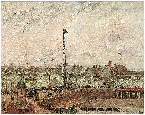 Camille Pissarro Painting - The Pilots Jetty Le Harve Mornig Grey Weather Misty by Camille Pissarro