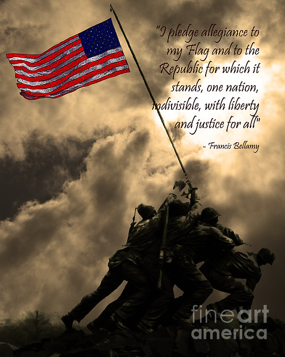 Iwo Jima Photograph - The Pledge Of Allegiance - Iwo Jima 20130211v2 by Wingsdomain Art and Photography