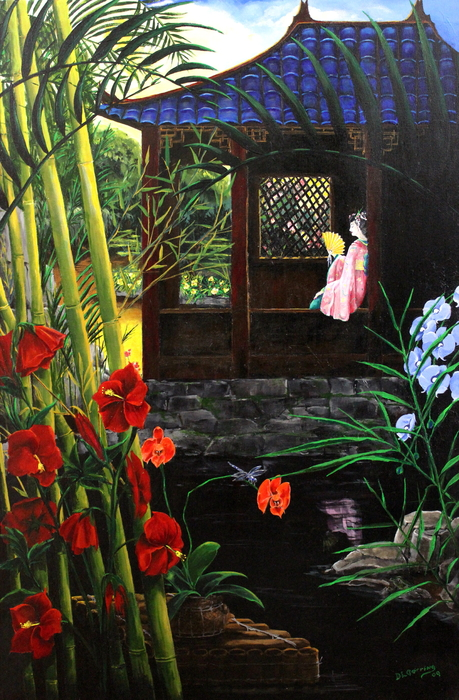 Japan Painting - The Pond Garden by D L Gerring