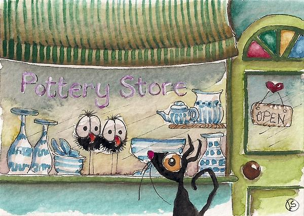 Lucia Stewart Painting - The Pottery Store by Lucia Stewart