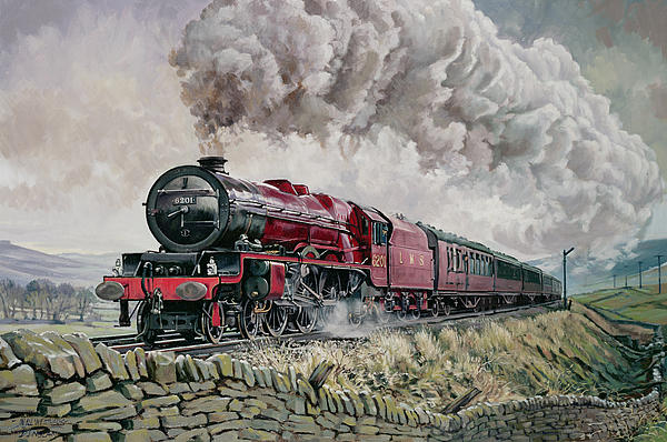 Train Painting - The Princess Elizabeth Storms North In All Weathers by David Nolan