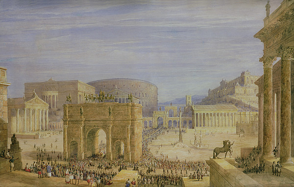 Column Of Phocas Drawing - The Roman Forum by Francis Vyvyan Jago Arundale