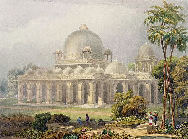 Architecture Drawing - The Roza At Mehmoodabad In Guzerat, Or by Captain Robert M. Grindlay