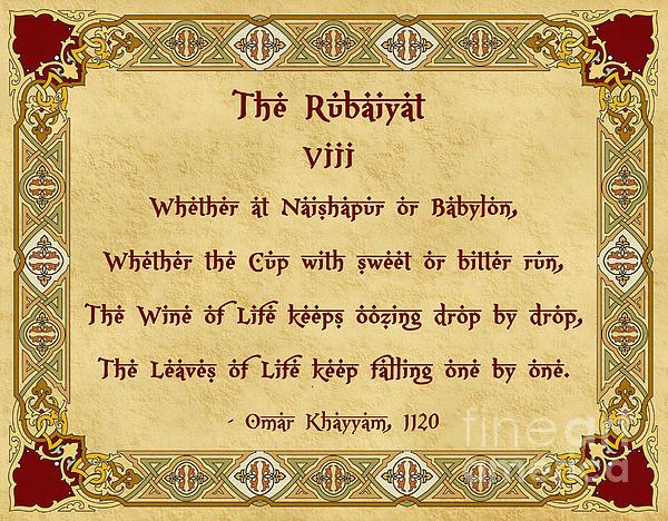 Omar Khayyam Digital Art - The Rubaiyat Viii Omar Khayyam  by Olga Hamilton