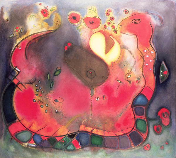 Serpent; Red; Abstract Painting - The Sacred Snake by Jane Deakin
