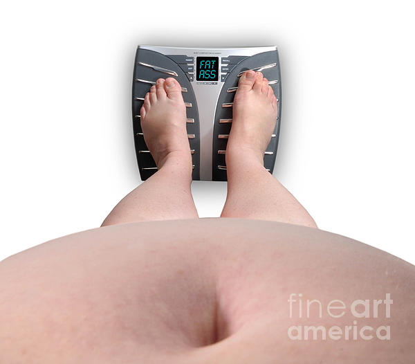 Abdomen Photograph - The Scale Says Series Fat Ass by Amy Cicconi