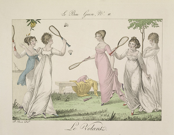 Badminton Drawing - The Shuttlecock, Plate 11 From Le Bon by French School